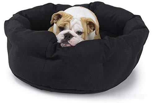 K9 Ballistics Round Dog Bed Deep Den, Bagel, Donut, and Deep Dish Style for Cuddler, Machine Washable (Black Medium 30' x 24' x 10')