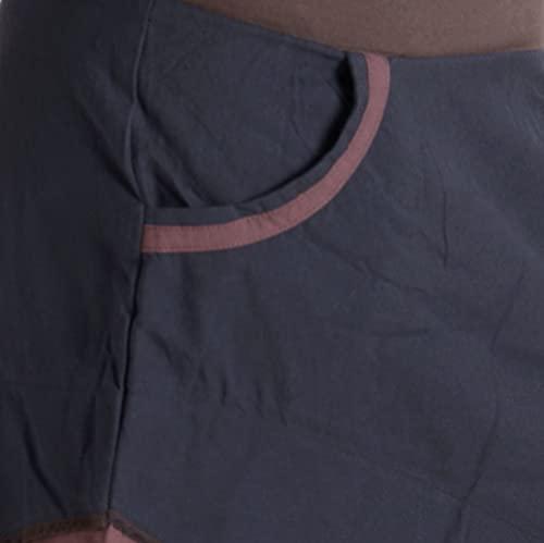 """Vishes – Alternative Bekleidung – Asymmetrischer Patchwork Zipfelrock aus Baumwolle mit """"Hosentaschen"""" braun 36 - 3"""