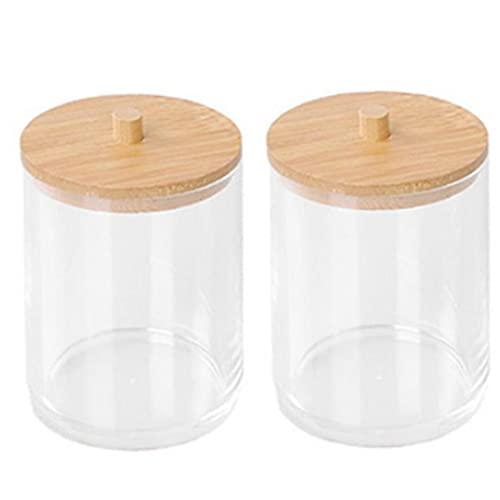 lujiaoshout Suaves esponjas de Apoyo del Almacenamiento de Caja de acrílico Canastillo con tarros de bambú Tapa Transparente 2 Piezas Inicio de Accesorios