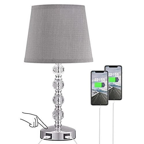 MJJLT Lámpara táctil de Cristal para Dormitorio, luz de Noche Moderna con 2 Puertos USB Lámpara de Mesa de Cristal pequeña para Dormitorio, Sala de Estar, habitación de Invitados