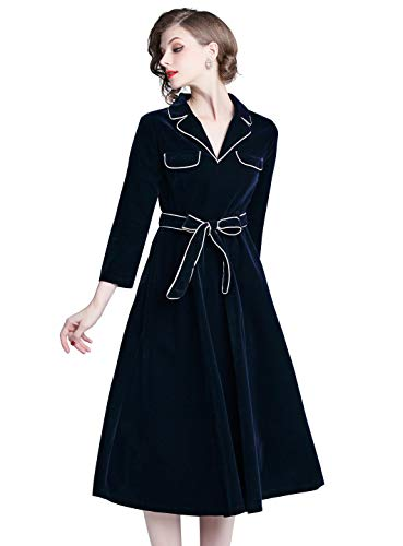 LAI MENG FIVE CATS Womens Notched Collar Velvet 3/4 Sleeve Casual A-line Midi Dress with Belt Navy