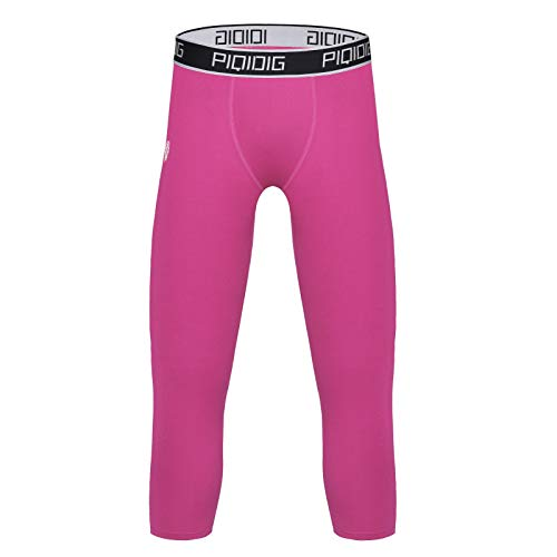 PIQIDIG Youth Boys Compression Pants 3/4 Basketball Tights Sports Capris Leggings (Pink, X-Large)