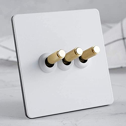 PJDOOJAE Interruptor de la pared de la pared del interruptor de rockero blanco Interruptor hecho a mano retro 86 Tipo 1-3 GAND 2 VÍA DOBLE DE DOBLE Lámpara de la pared Interruptor de la luz de la pare