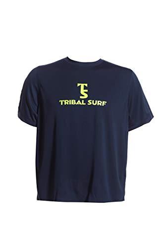 Tribal Surf Men's Rashguard Solids (Choose Color & Size) (Solid Navy/Lime Green Logo, Medium)