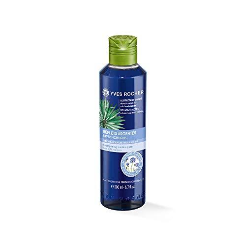 Yves Rocher PFLANZENPFLEGE HAARE Shampoo Silberglanz-Reflexe, Haar-Shampoo für graues Haar mit Kornblumen-Extrakt, 1 x Flacon 200 ml