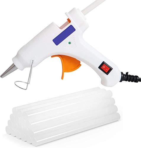 Pistola de pegamento termofusible + 50 barras de pegamento transparente, juego de pistola de pegamento transparente para manualidades pequeñas y reparaciones rápidas en casa y oficina (02)
