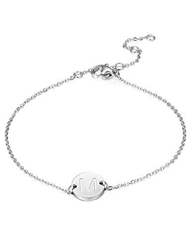 BESTEEL Edelstahl Armbänder für Damen Mädchen Initiale Armband Armkette Buchstaben M 16.5+5CM