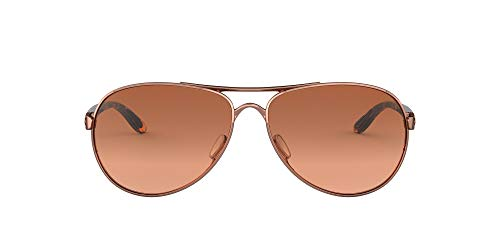 Oakley Women's OO4079 Feedback Metal Aviator Sunglasses, Rose Gold/Vr50 Brown Gradient, 59 mm