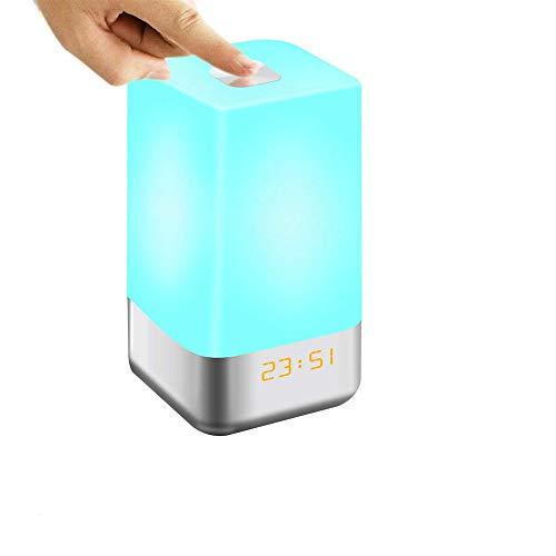 YMMONLIA Reloj Despertador Luz Reloj Despertador Control táctil Al Lado de la lámpara con simulación de Amanecer / 3 Modos de Brillo / 5 Sonidos Naturales Luz Nocturna en Color Regulable, Recargable