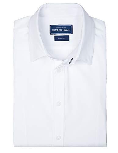 Mizzen + Main Stockton Mens Standard Fit Button Down Dress Shirt, XL, White