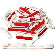 125 Adhesive Pin Back (Buy 2 get 25 Free)(Buy 3 Get 50 Free) Adhesive Bar Pins - Safety Bar Pins - White Safety pins w/Adhesive - Safety pin Back for Name Badge - Adhesive pinback