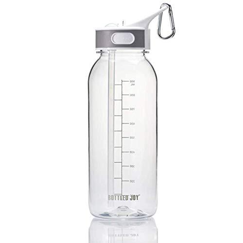 libelyef Botella de agua deportiva, botella de agua portátil de 1000 ml con marcador de tiempo para viajes al aire libre transparente deportes bebidas botella