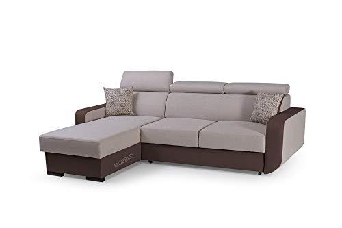 mb-moebel Ecksofa mit Schlaffunktion Eckcouch mit Bettkasten Sofa Couch Wohnlandschaft L-Form Polsterecke Pedro (Beige + Braun, Ecksofa Links)