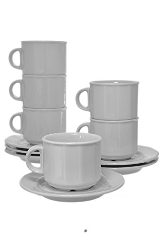 Set 6 All White Porcelain 3oz Demitasse Espresso Coffee Paneled Cups & Saucers