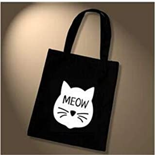 Gimax Shoulder Bags - Female Canvas Beach Bag Cartoon Cat Printed Casual Tote Women Handbag Daily Use Shoulder Shopping Bags Black bolsos Mujer - (Color: Style 1)