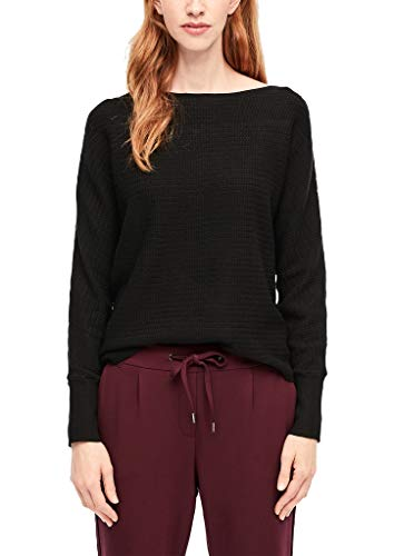 s.Oliver RED Label Damen Fledermaus-Pullover mit Zopfmuster Black 38