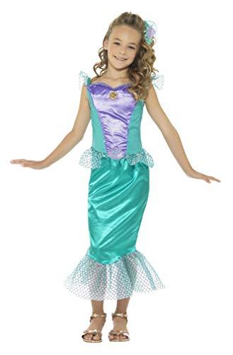SMIFFYS Costume Sirenetta deluxe, verde, con vestito e clip per capelli