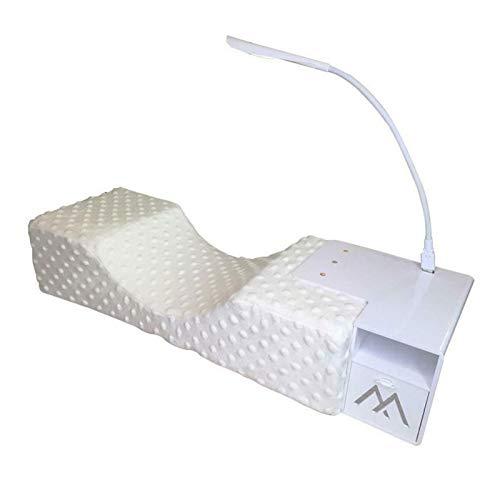 DASNTERED Cuscino per ciglia con mensola per cuscino e luce LED, cuscino per ciglia a forma di U, ergonomico, a forma di U, luce LED, set di estensione per ciglia