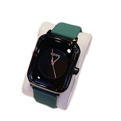 Yokbeer Reloj de Mujer de Cuarzo Analógico de Negocios Clásico Rectangular con Correa de Gel de Sílice y Elegante Reloj de Mujer (Color : Green-Black Frame)