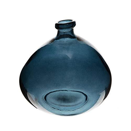 ATMOSPHERA CREATEUR D'INTERIEUR Vase en Verre Recyclé - D 20 X H 23 Cm - Bleu