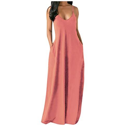 riou Vestido Mujer Bohemio Largo Verano Playa Fiesta Casual Vestido de Cóctel de Noche/Color SólidoFalda Larga