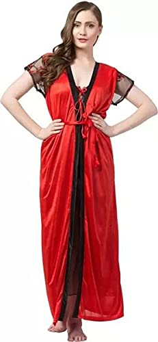 HOS 2 Piece Women Satin Nightgowns and Robe Set Sexy...