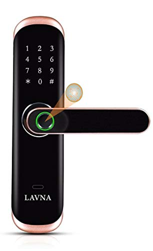 LAVNA Smart Digital Lock L-A28 with Bluetooth Mobile App, Fingerprint, PIN, OTP, RFID Card and Manual Key Access for Wooden and...