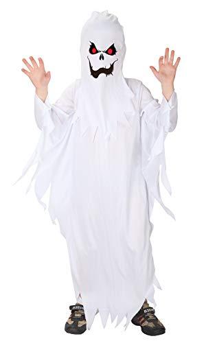 GEMVIE Déguisement Fantôme Enfant 4-12 Ans Démon Coustume Halloween Cosplay Déguisement Toussaint Carnaval Party Soirée (7-9 ans)