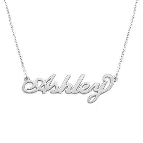 """MyNameNecklace - Collana con nome personalizzato con ciondolo piccolo stile """"Carrie"""" (Argento 925)"""