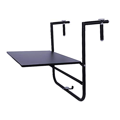 FENGSHOUU Folding Patio Railing Side Table,Adjustable Hanging Balcony Dining Table,Metal Attachable Balcony Table,Outdoor Garden Plant Furniture Floating Coffee Table Stand,60x40cm,4 Levels,Black