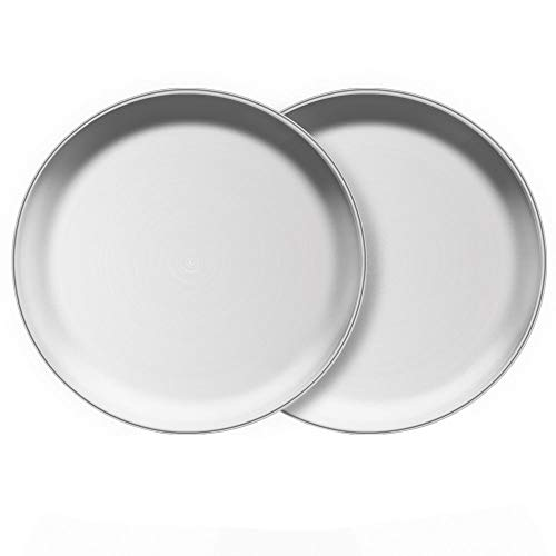 AIYoo Steel Plates for Kids and Toddlers 2 Set 8 Inch Metal Round Dinner Plate Dishes for Serving/Snack/Camping, BPA-Free and Dishwasher Safe