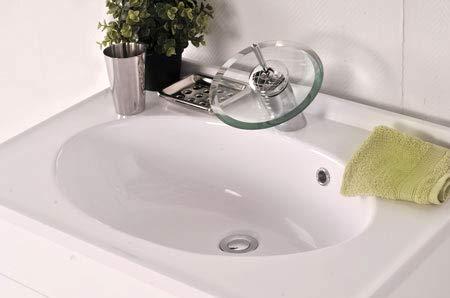 SAM Milchglasbecken Santana, Waschbecken oval, weißes Glas, Waschtisch 70 cm, ohne Unterschrank