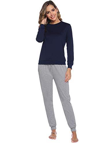 Abollria Pijamas Mujer Algodon Ropa de Domir Elegante Manga Pantalon Largos (S, Gris_4)