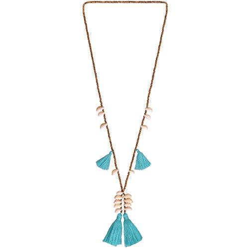 KELITCH Halsketten Quaste Charme Frau Männer Multi Quaste Muschel Anhänger Sautoirs Handgefertigt Boho Halskette Zum Frau Mädchen - Blau