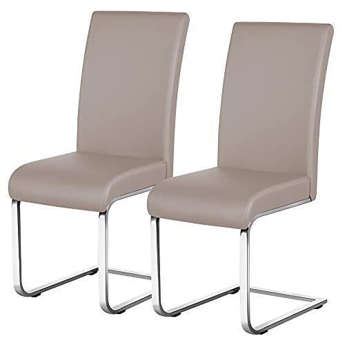 sedie sala da pranzo marroni Yaheetech Set 2 Sedie Sala da Pranzo Moderne Imbottite in Finta Pelle e Gambe in Metallo da Ufficio Salotto Soggiorno Marrone Portata 135 kg