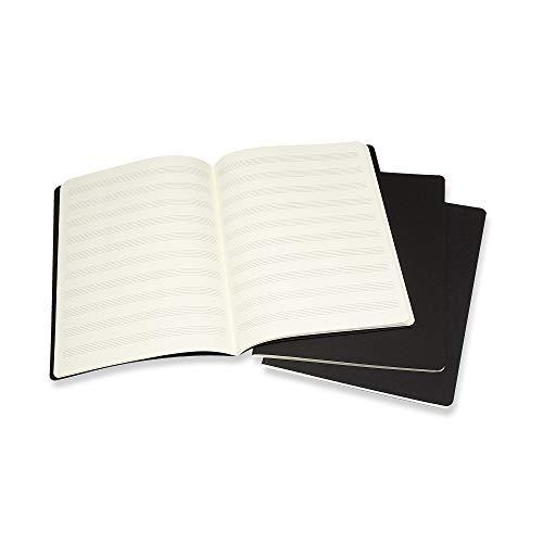 Moleskine Art Cahier Music Notebook, Soft Cover, XL (7.5' x 9.5') Pentagram, Black, 80 Pages (Set of 3)
