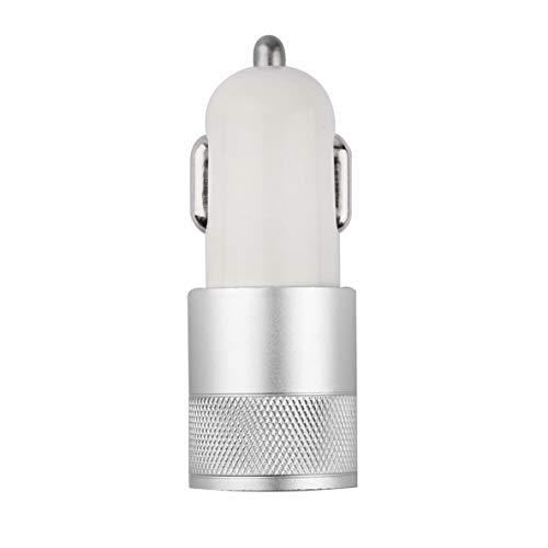 ACEHE Fuerte Compatible DC12-24V 2.1A 1.0A Adaptador de Cargador de Coche Universal USB de Doble Puerto USB de Aluminio Adecuado para iphone6 / 6s / 5 (Plateado)