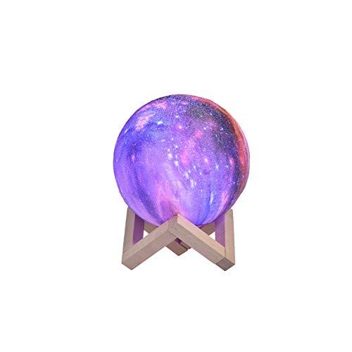 Lámpara Luna 3D, Papasbox Luz Nocturna 15 cm Regulable 16 Colores RGB Recargable, Control Táctil e USB Recargable, Luz de Noche Ambiente Lámparas para Dormitorio, Salón, Regalo