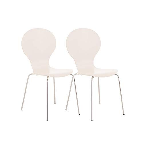 CLP 2X Stapelstuhl Diego I Konferenzstuhl Mit Holzsitz Und Stabilem Metallgestell I 2 x Platzsparender Stuhl Mit Pflegeleichter Sitzfläche, Farbe:weiß