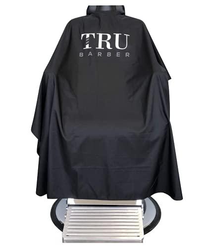 TRU BARBER Capa de peluqueria XXL, con cuello de silicona, 100% poliéster, capa de peso ligero y resistente al agua, capa de salón profesional con cierre a presión