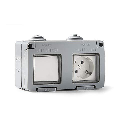 Famatel 19033 Conmutador + Base empotrar | Serie Garden | IP55 | Protección Infantil | Este Enchufe es a Prueba de Agua | Fácil de Instalar Este Producto | Aluminio | Gris