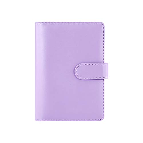 A6 Pu Leather Notebook Binder - Personal Diary Schedule Organizer Planner Binder Cover with 6 Round Ring and Magnetic Buckle Magnetic Buckle Closure for A6 Filler Paper(1 Piece,Purple)