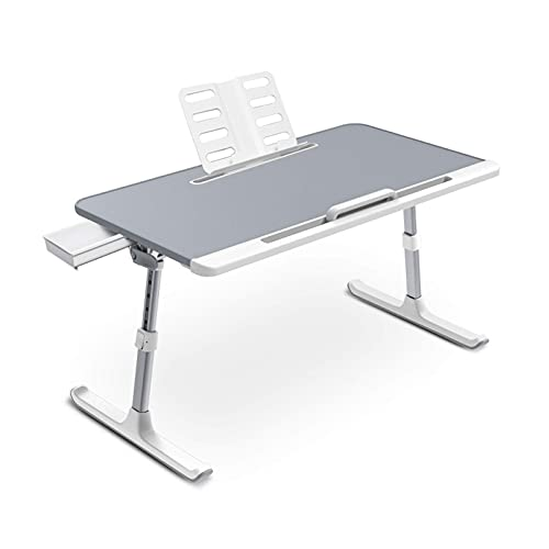 Bandeja de cama para computadora portátil, soporte ajustable para cama, mesa plegable para computadora portátil con cajón de almacenamiento para comer, trabajar, escribir, jugar, dibujar (gris, extra