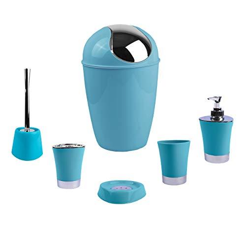 H HANSEL HOME Juego de Accesorios para Baño, 6 Accesorios, Dispensador de jabón, Papelera, Soporte para Cepillo de Dientes, Jabonera, Escobilla y Vaso Multiuso (Azul Cielo)