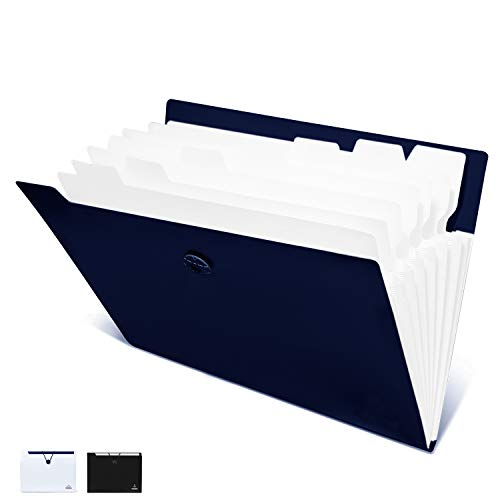 FHEAL Expanding File Folders 8 Pockets Plastic Accordion Folders Letter Size Document Organizer with Elastic Band for School Office (Blue 1 Pack 8 Pockets)