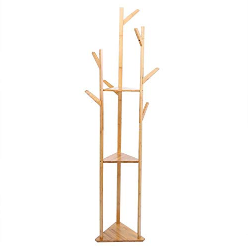 Lipenli Simple Wardrobe Perchero de pie, multifunción de bambú Planta Permanente perchero Percha Se adapta bien en Apartamento dormitorio del Ministerio del Interior Puerta de entrada Hall de entrada