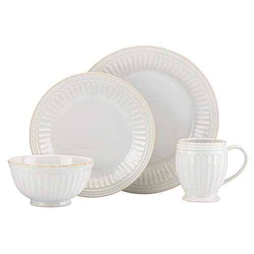 LENOX 856883 White French Perle Groove 4Pc Place Setting, Stoneware