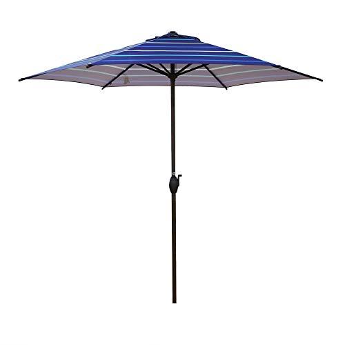 Abba Patio 9ft Striped Patio Umbrella Outdoor Umbrella Patio Market Table Umbrella with Push Button Tilt and Crank for Garden, Lawn, Deck, Backyard & Pool, Dark Blue Stripe