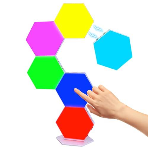 Fuyionsko 6 Piezas Empalme RGB Luces, Hexagonal USB Cargar Tacto Sensible Luces de Pared Modulares Ceativas DIY Magnética Aracción Geometría Lámpara de Noche para Decoración del Hogar, Regalo
