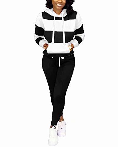 Womens Casual Two Piece Outfits Stripes Sweatsuit Tracksuit Kangaroo Pocket Hoodies Sweatshirt Drawstring Pants Black 3X